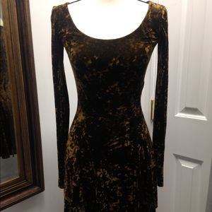 Betsey Johnson Brown  Crushed Velvet Dress Sz 2